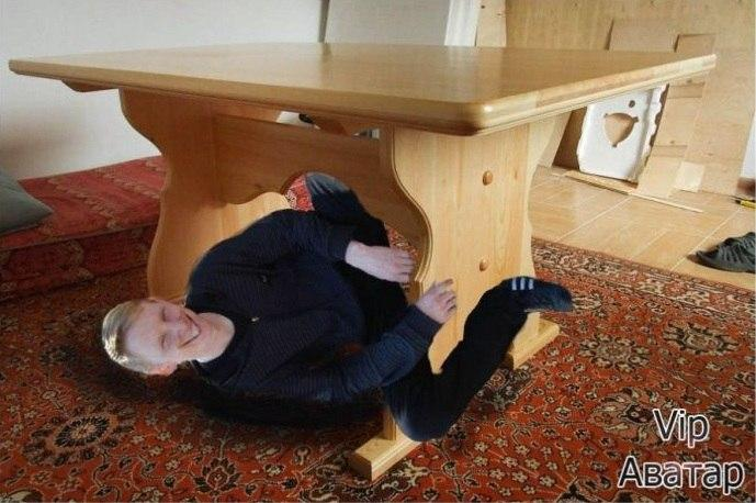 Сделайте чтобы я под стол упал и встать не мог и на аватарку не стыдно